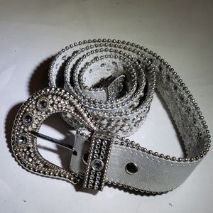 Silver leather bling belt 40 inches